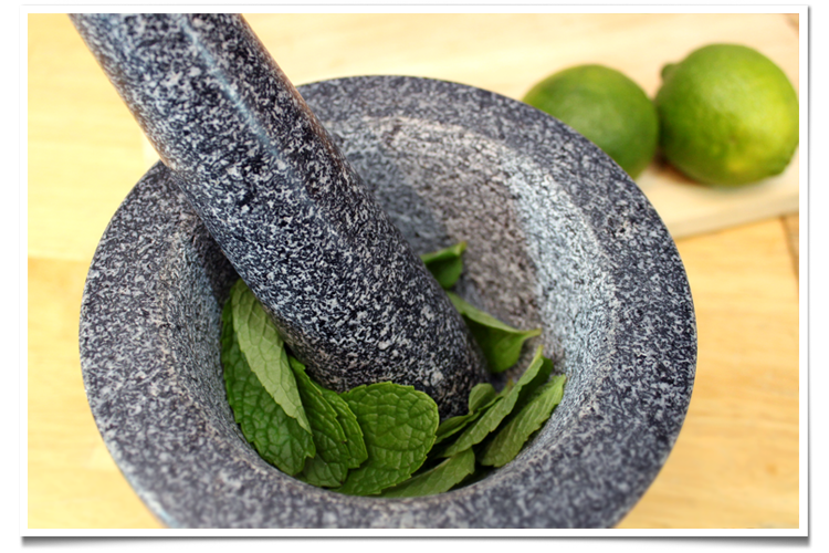 Mint in Mortar Pestle