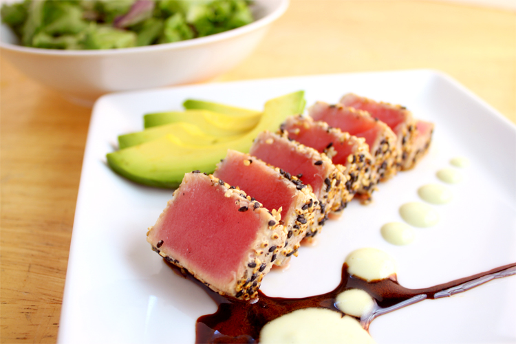 Ahi Tuna Salad with Soy Ginger Reduction & Wasabi Aioli | The Noshing ...